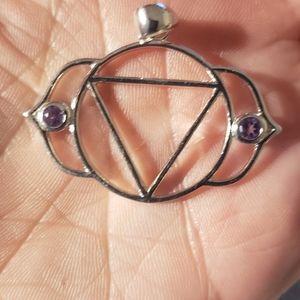 Sterling Silver Iolite Third Eye Chakra Pendant